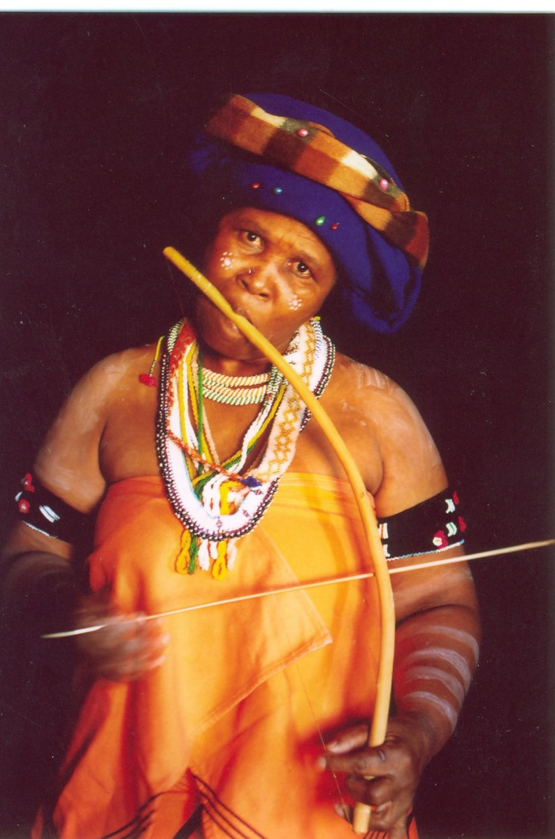 Madosini Latozi Mpahleni is a Pondo woman who is hailed as the Queen of Xhosa Music born in the District of Dlomo of the village of Mpheko near Umtata in the Eastern Cape