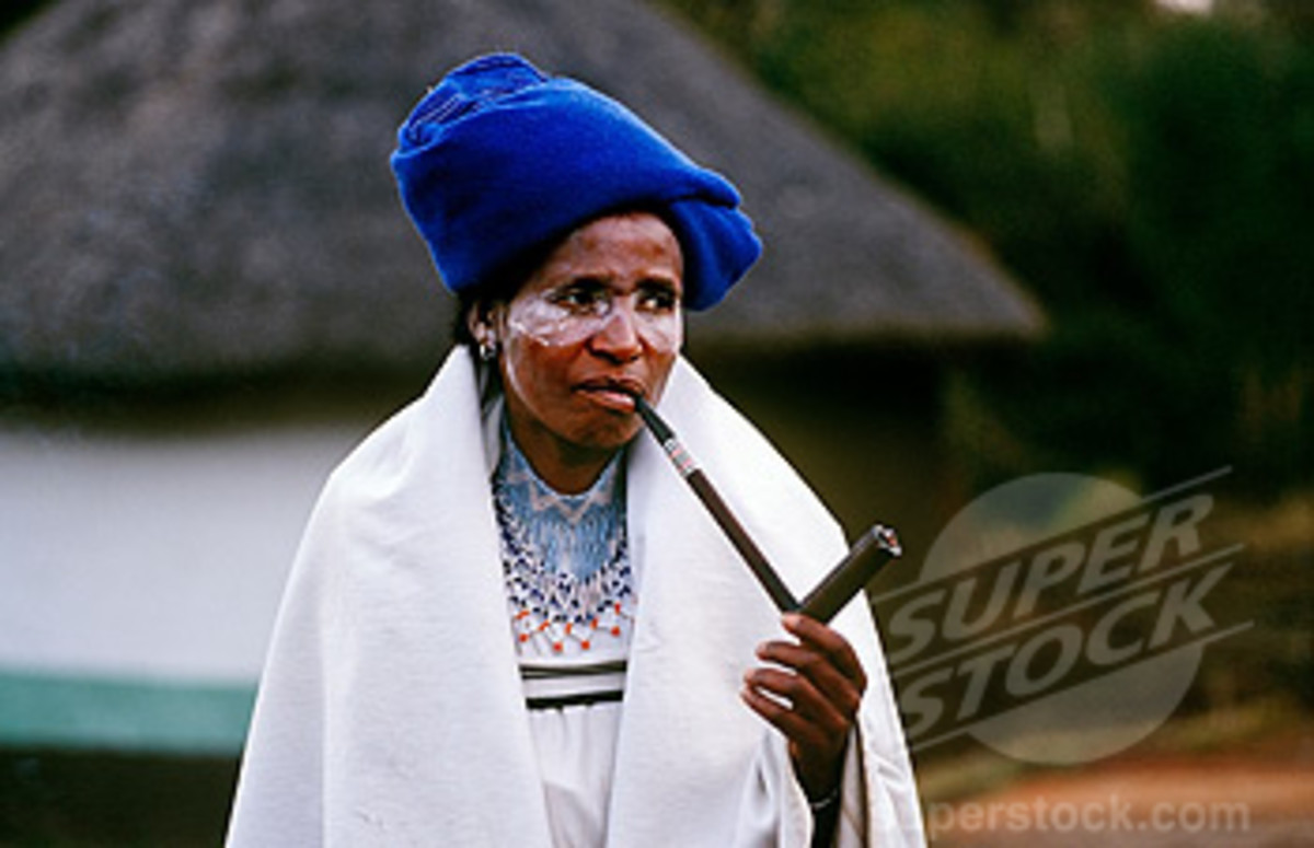 Xhosa Woman smoking Her traditional Pipe