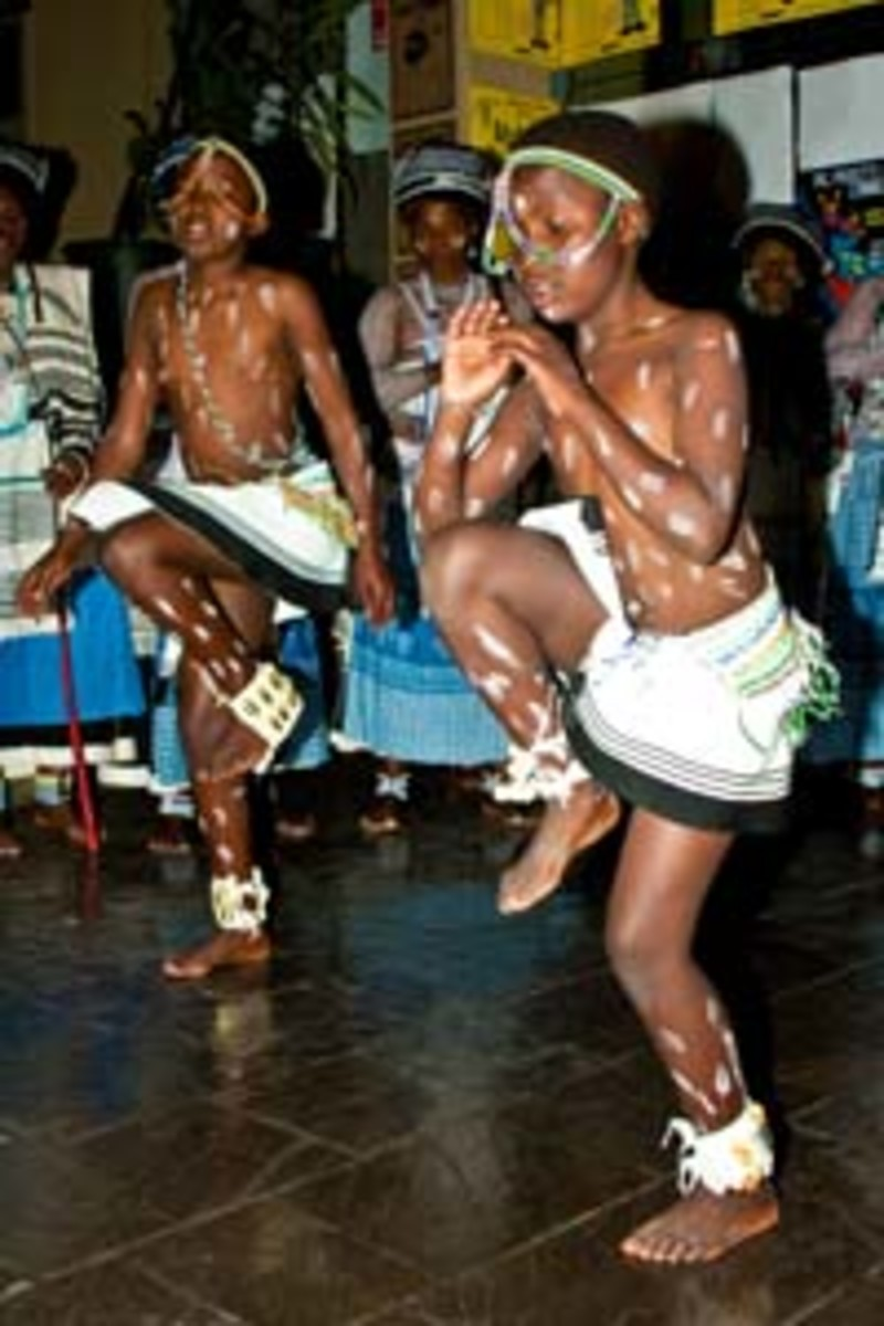 Young Xhosa girls performing their traditional dance