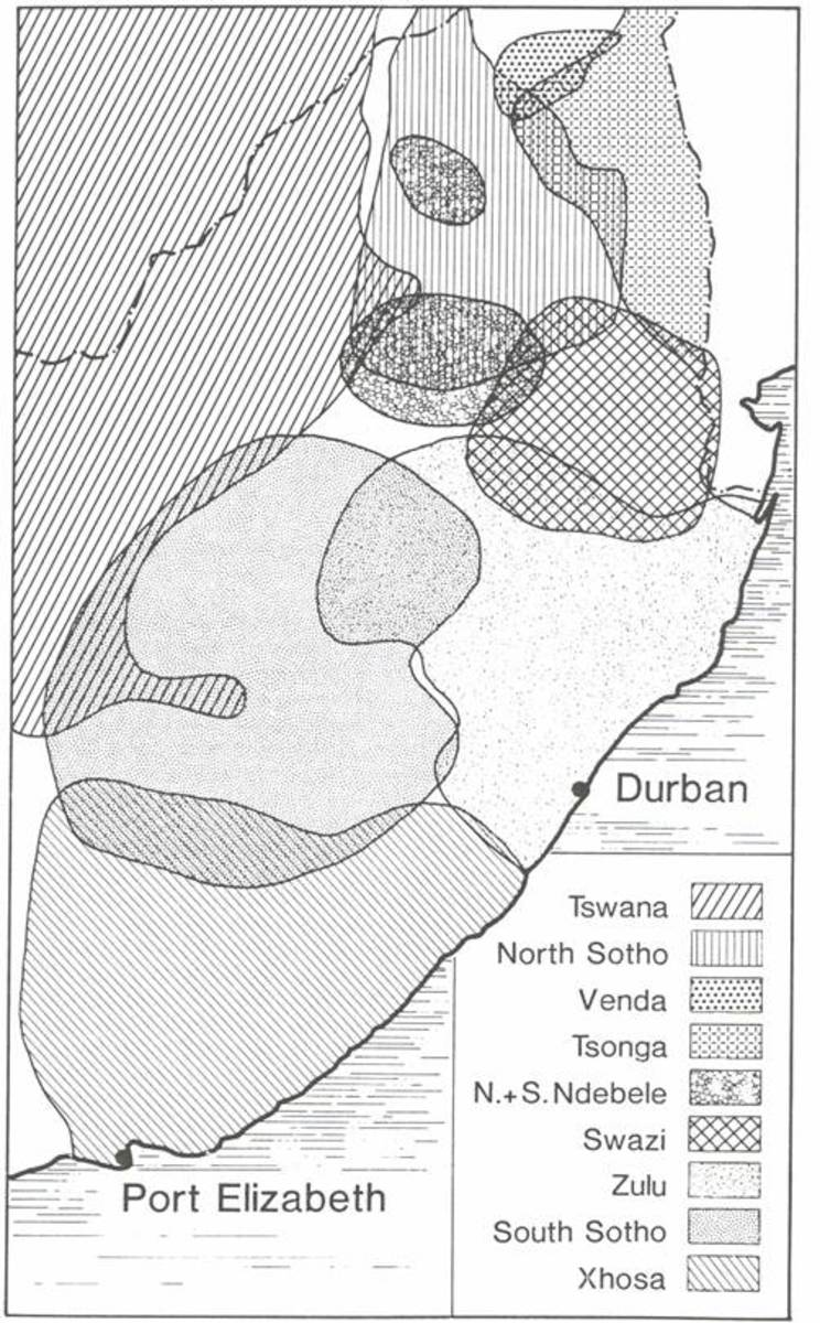 This map shows the how the Africans is South Africa are spread throughout the Region of South Africa