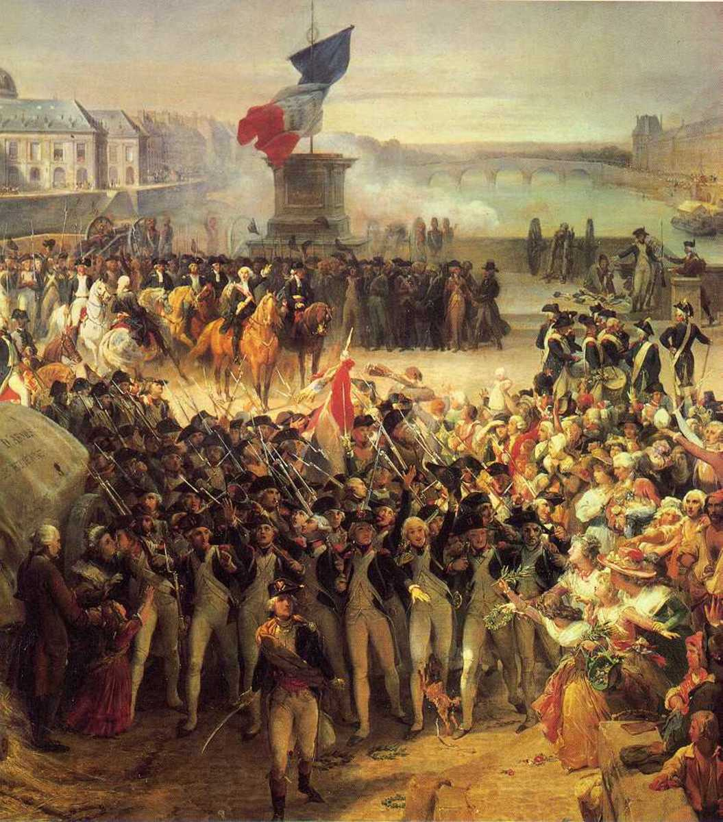 This painting from the French Revolution era shows the class between the court and the military that had swung to the side of the people and bourgeoisie.