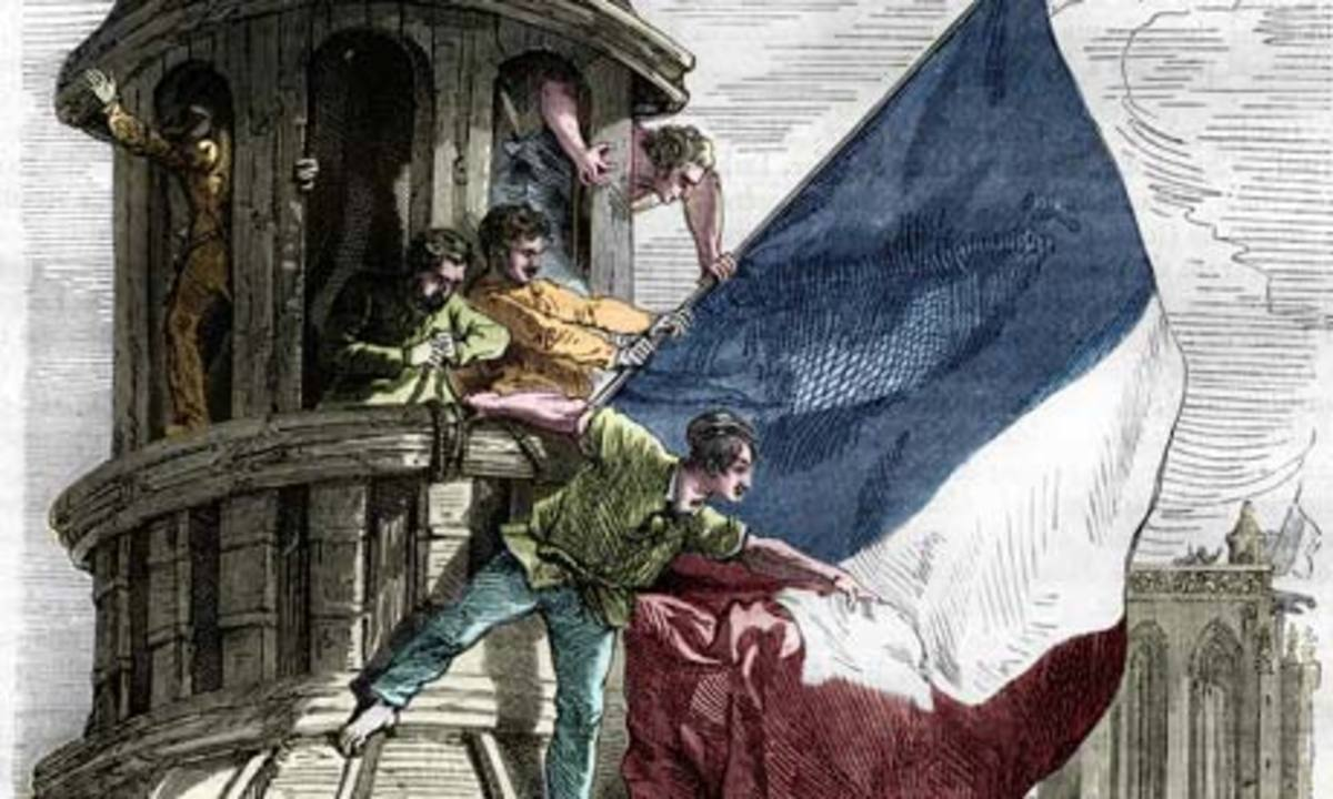 Another popular painting of the day, shows people erecting and unfurling the tri-color flag of the revolution in a prominent location.