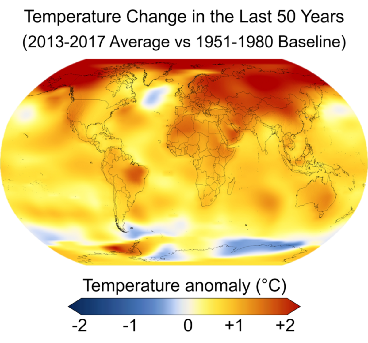 Climate change temperature map