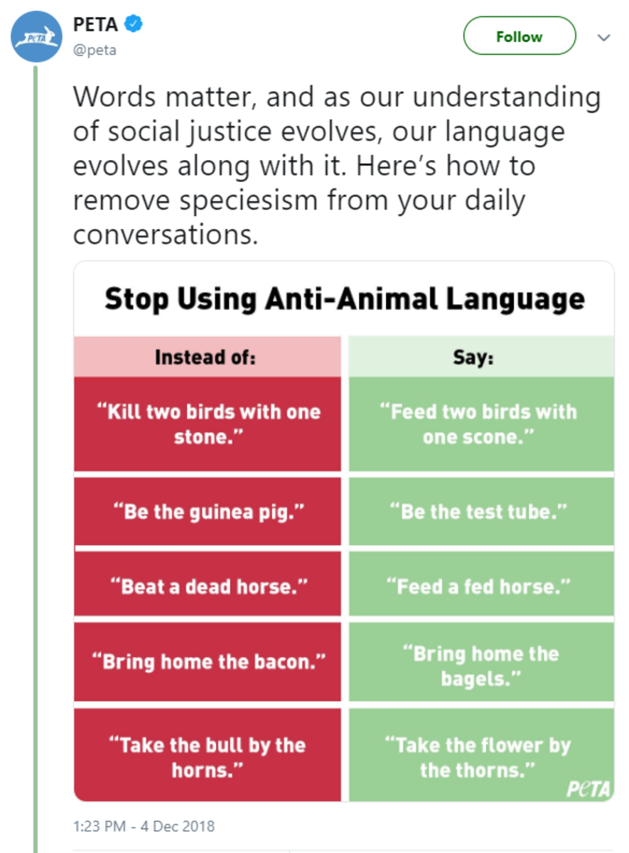 PETA tweeted this anti animal language chart