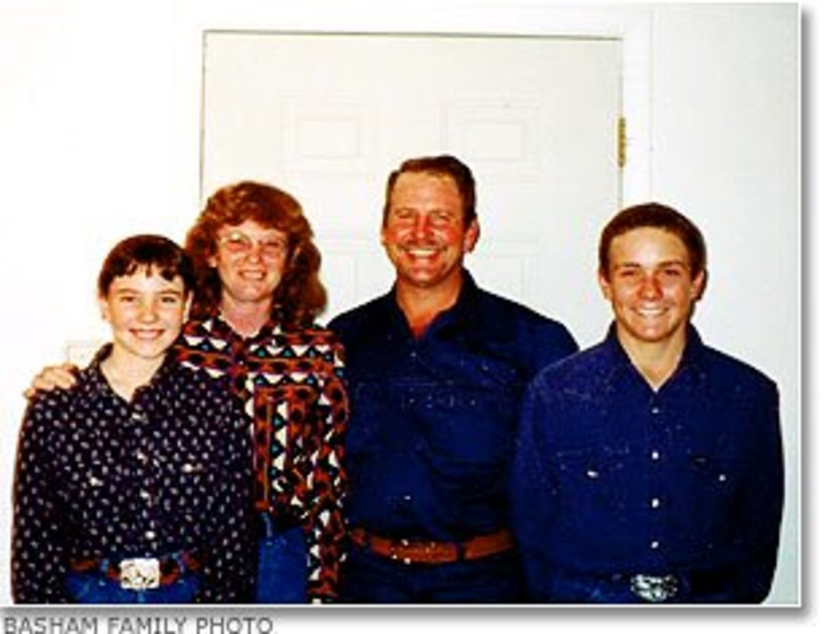"Cody posing with the family he would subsequently murder.  Right to left: Marilea, Tryone, Paul & Cody.  There were secrets hidden behind the smiles in the ""happy"" family photos..."