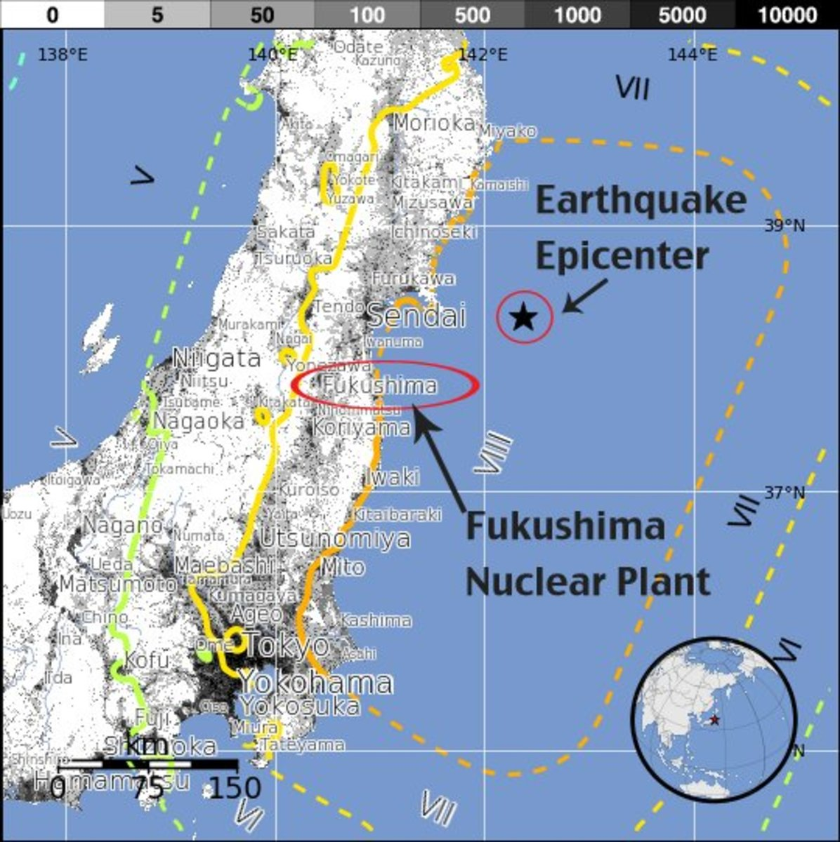 The approximate location of the Fukushima to the Earthquake Epicenter (Edigitales.org).