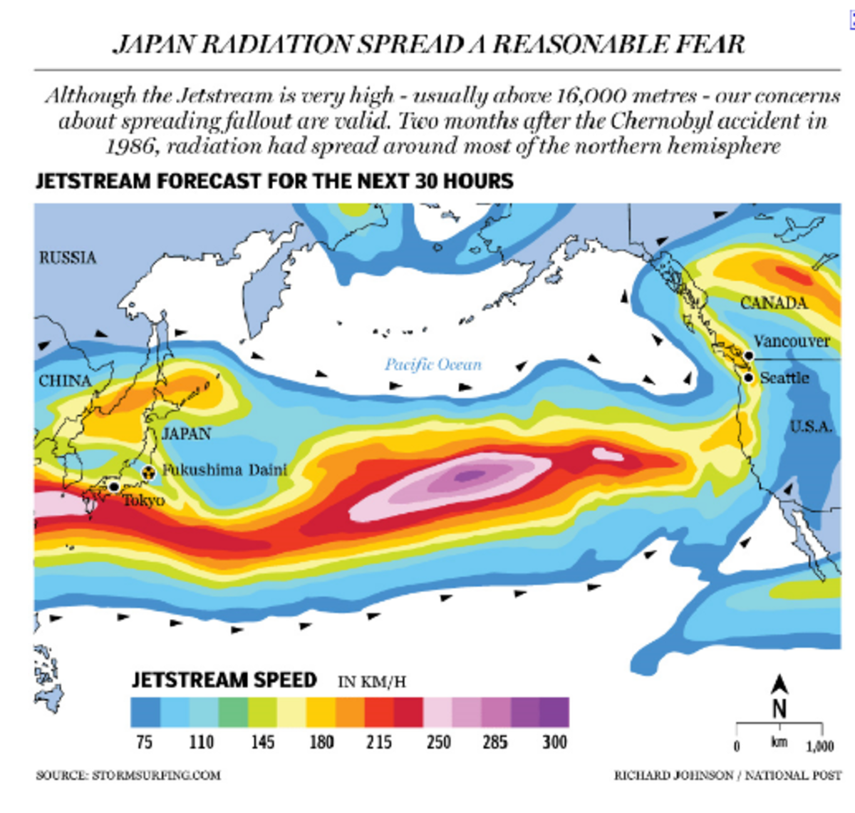A view of the jet stream and how radiation spread to North America(Waller).