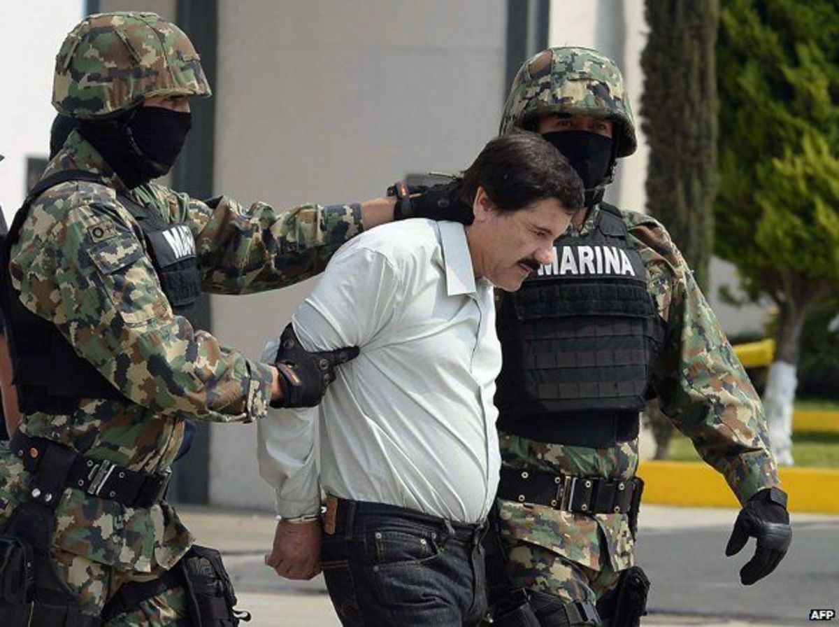 """El Chapo"" Guzman captured by police in January 2016"