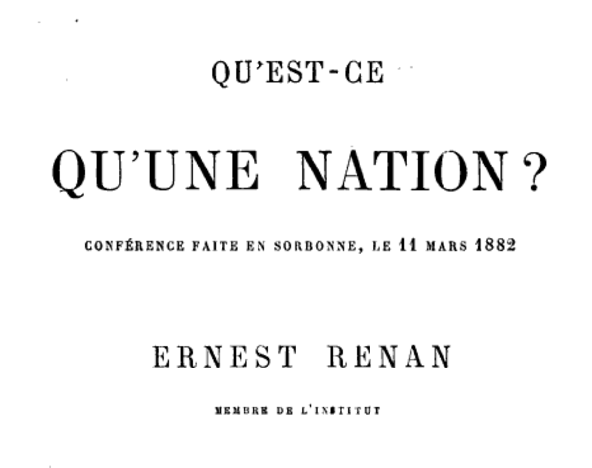 Cover of Ernest Renans lecture, delivered at the Sorbonne on 11 March 1882, entitled Quest-ce quune nation?