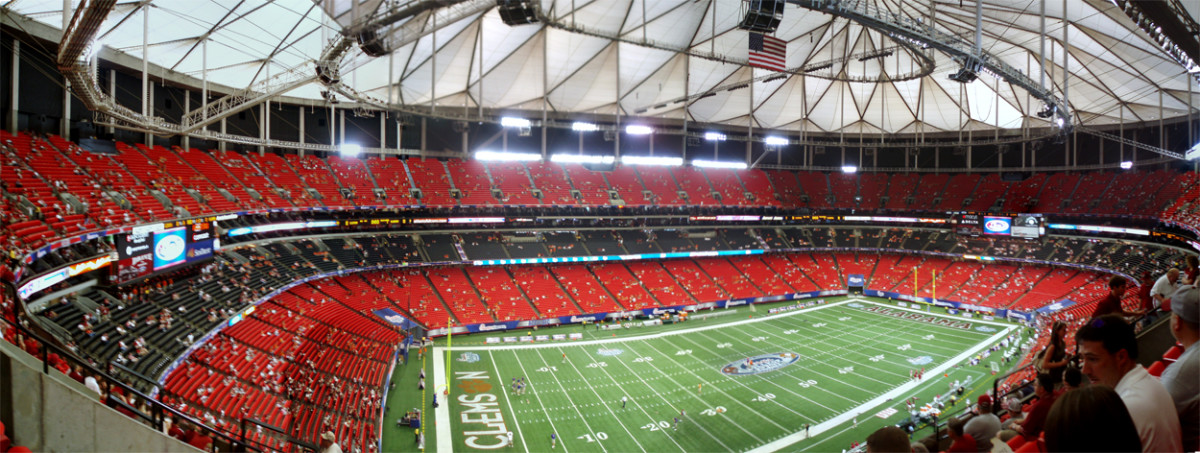 The Georgia Dome in Atlanta uses a Teflon-coated fiberglass as a permanent roofing material. The fabric was originally developed for astronaut uniforms.By Latics (Own work) via Creative Commons.