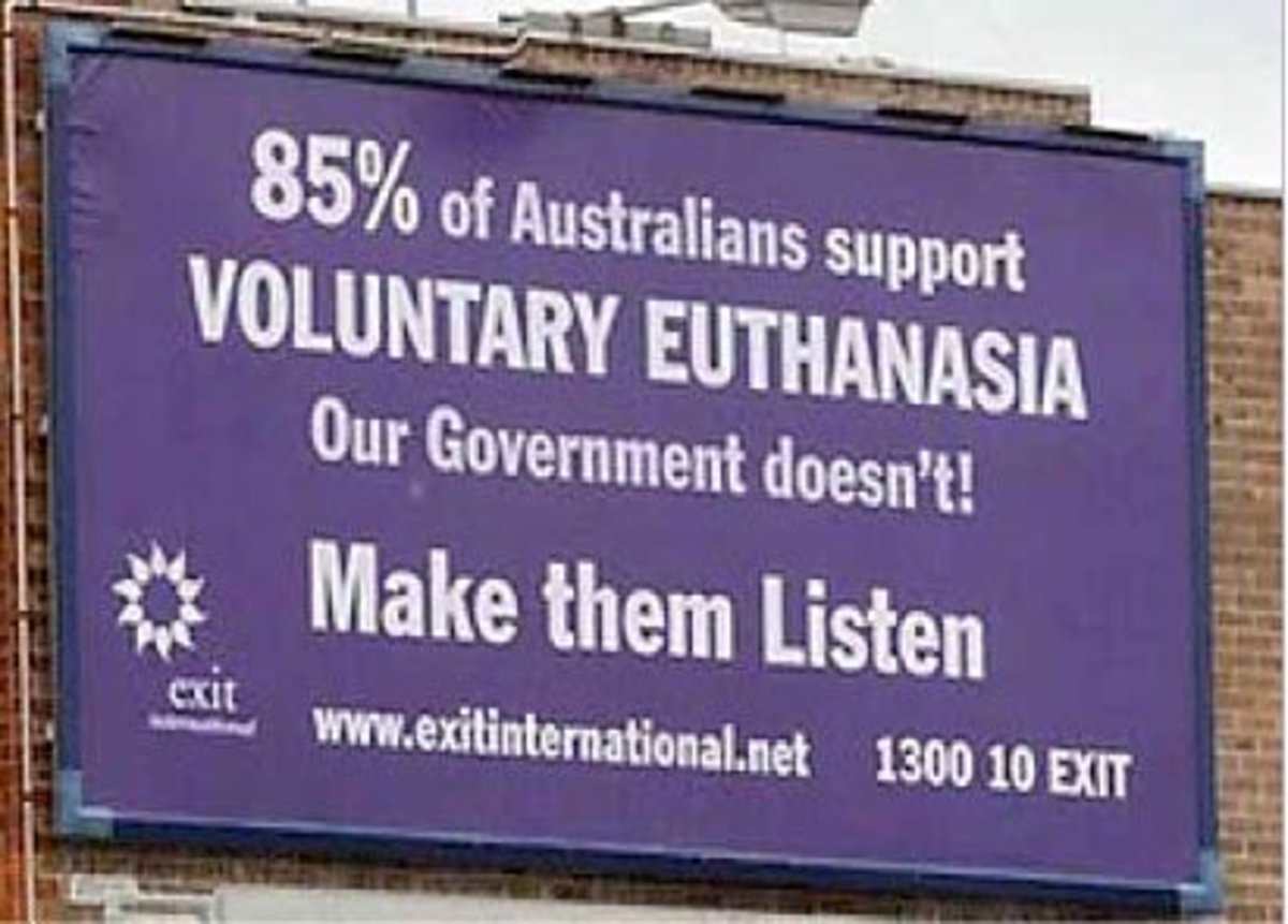 euthanasia pros and cons should people have the right to die  controversial billboard made by exit international an organization who campaign for the legalization of euthanasia