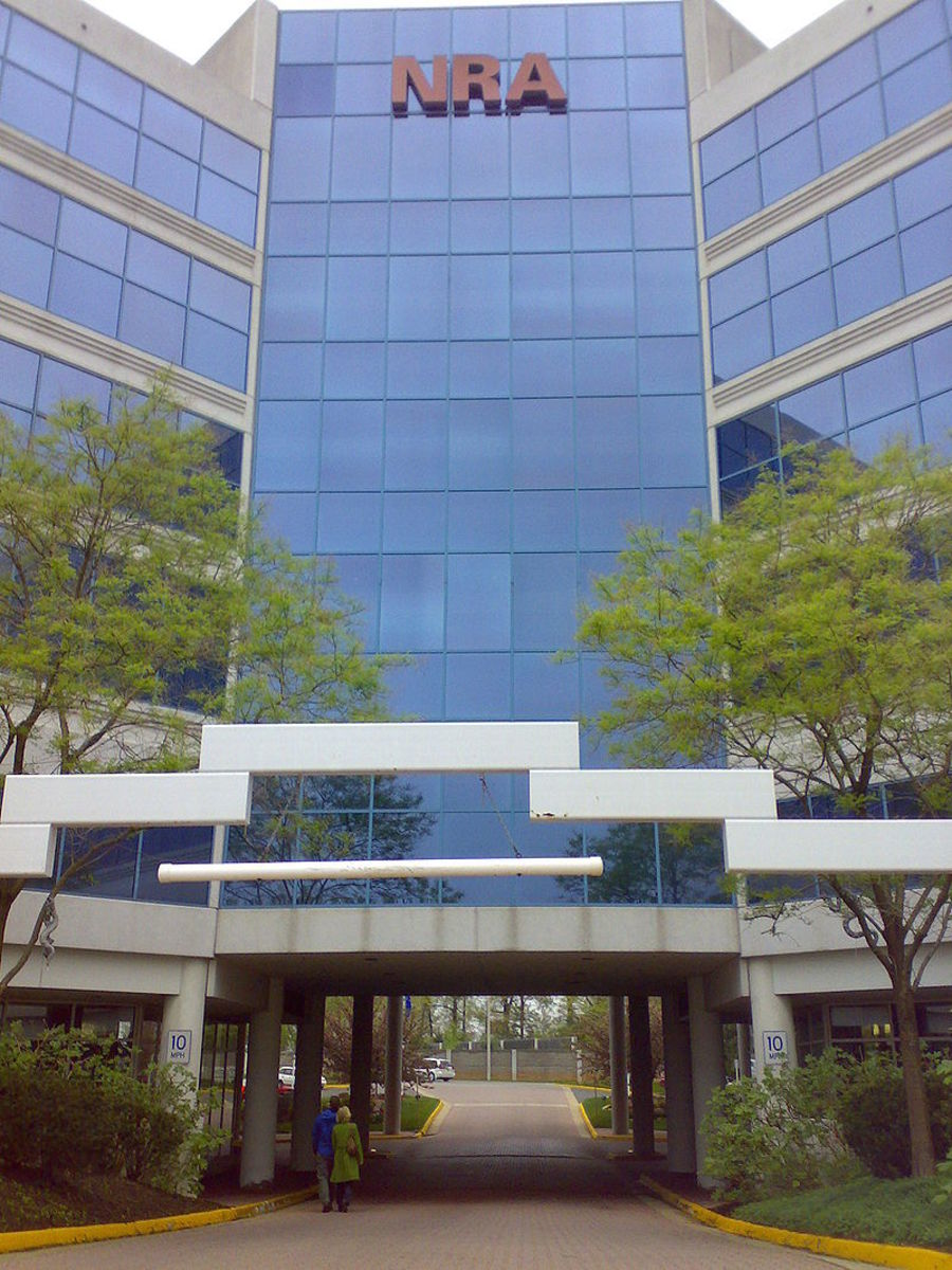 The headquarters of The National Rifle Association in Fairfax, Virginia.  The NRA is a strong lobby group, as well as offering programs that  teach firearm competency and safety to youth and adults, as well as civilians and law enforcement.