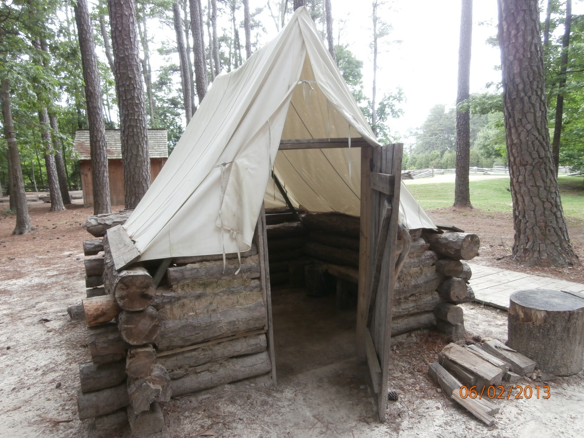 Soldiers worked together to construct shelter while in winter camp. The roads were generally too muddy to move troops and artillery during the winter. This is an example of winter camp shelter.