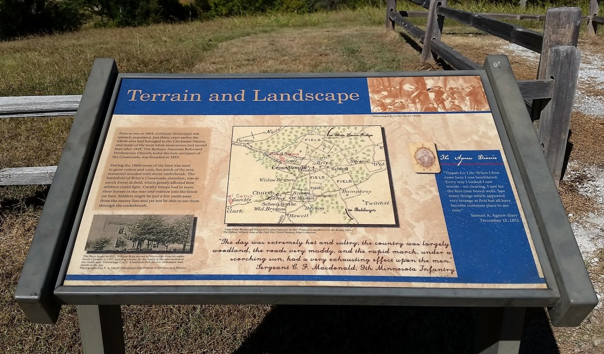 One of the informational displays at the battle site at Brice's Crossroads.
