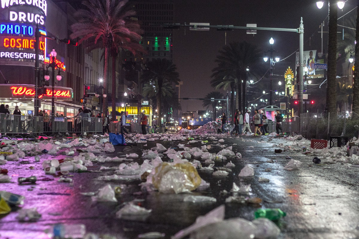 Mardi Gras in New Orleans usually draws about 1.4 million people... and their garbage. It takes weeks for the city to recover.