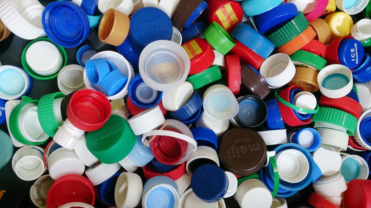 Plastic bottle caps collected for recycling