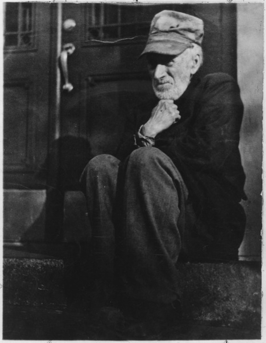 Photo of homeless man by National Archives and Records Administration