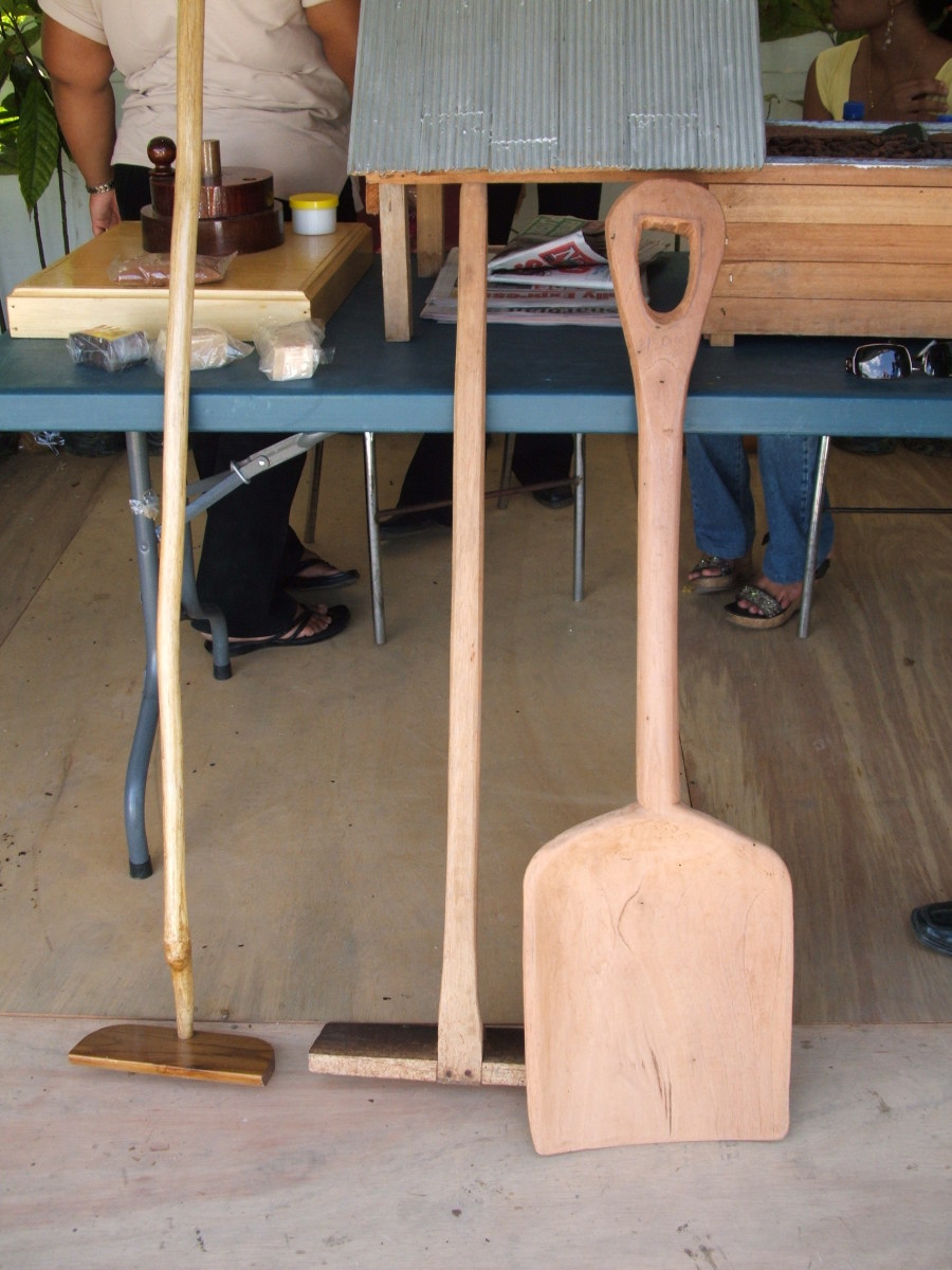 Tools used to harvest cocoa beans.