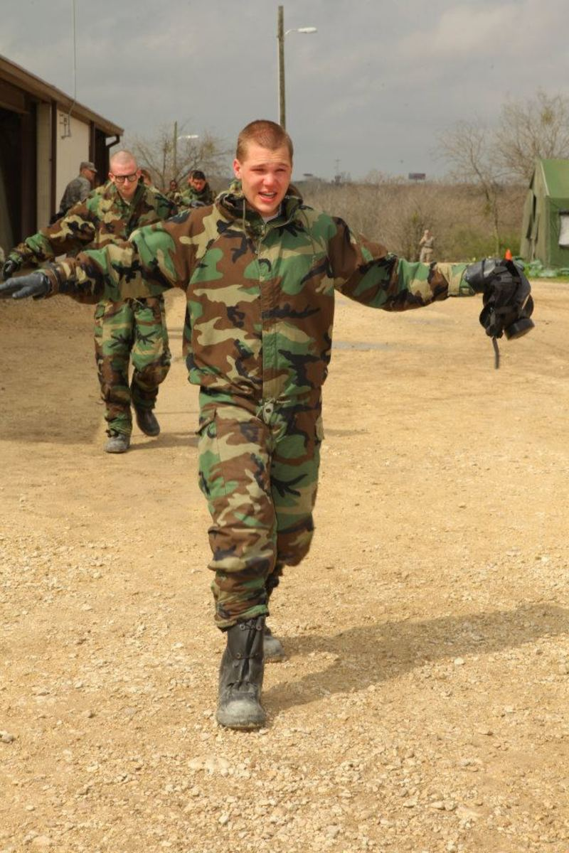 Rhett exiting the gas chamber. Recruits have to hold out their arms so they aren't tempted to rub their eyes.