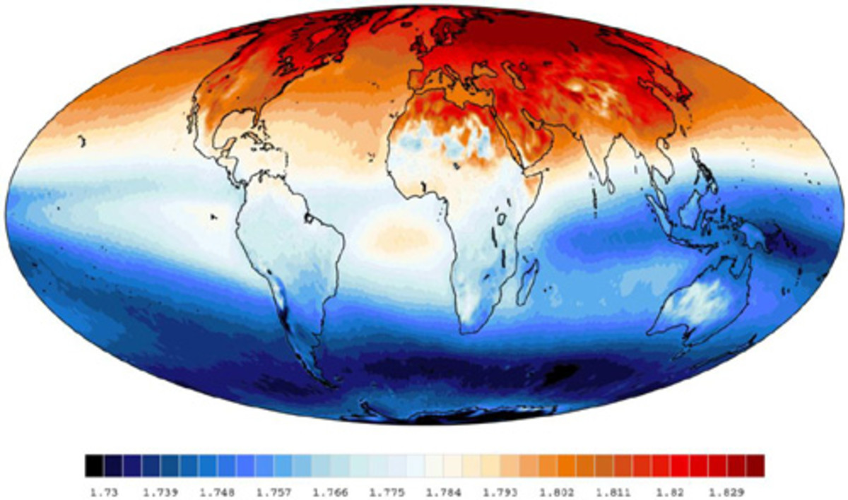 Methane concentration on the planet