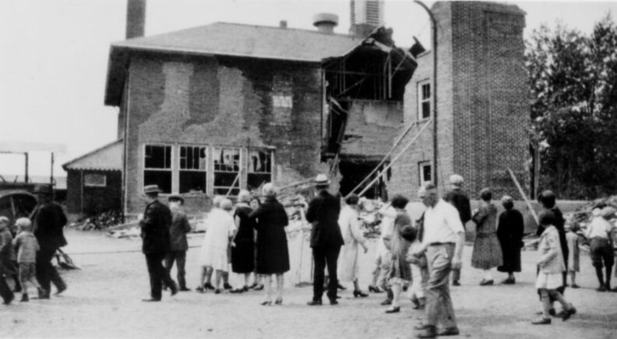 The Back of the Bath Schoolhouse after the 1927 bombing.