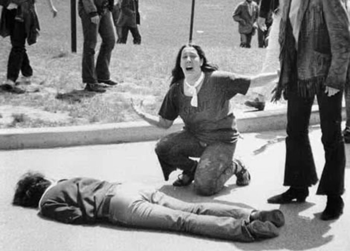 Student reacting to another student being shot dead by National Guard at the Kent State Massacre in 1970.