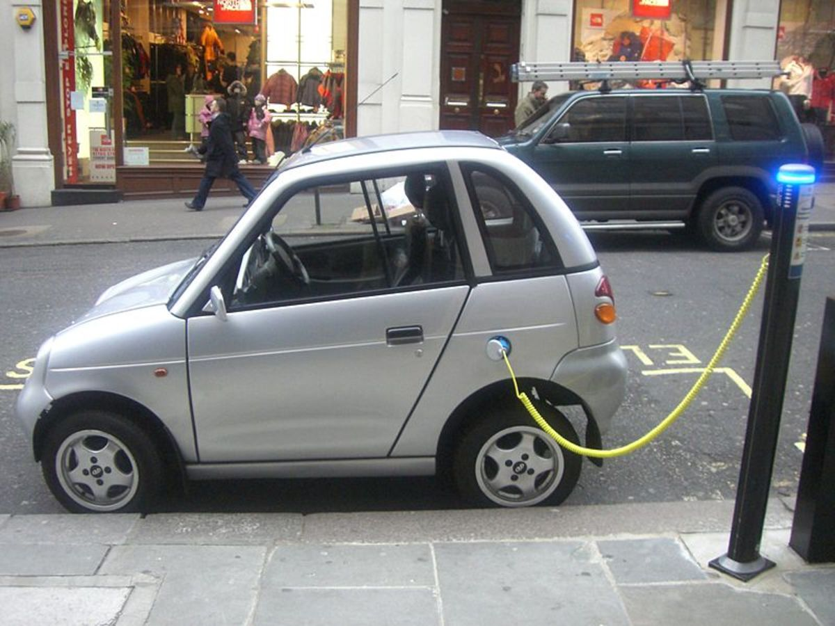 This electric car in London is getting a recharge. In a world without oil, cars like these will become more common.