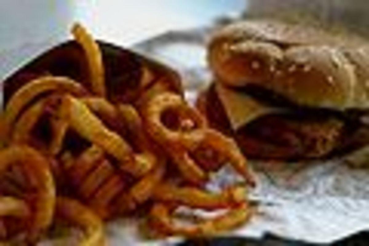 Onion Rings and a Big Fatty Hamburger! Yumm!