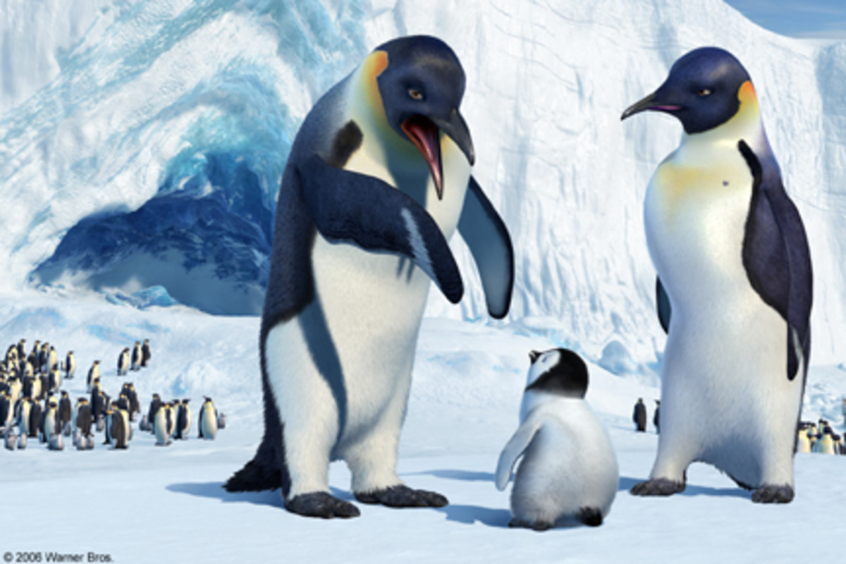Scene from Happy Feet. Notice how the penguin on the right, the female, has a synched waist and high breast-like chest. Is this really necessary??