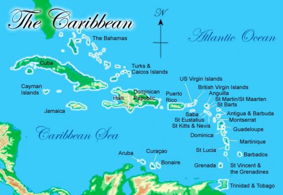 Map of the Caribbean.