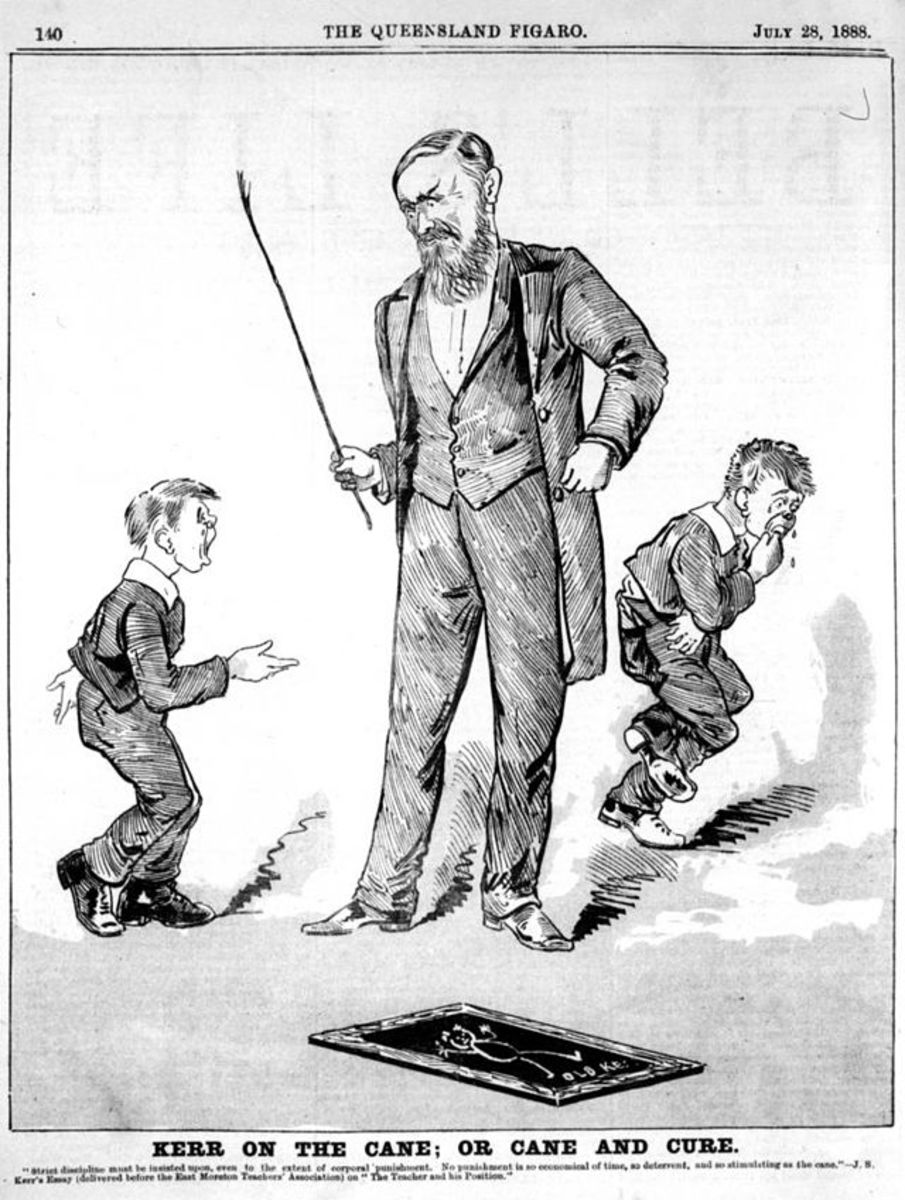 Two students receiving the cane in a drawing from 1888.  Corporal punishment in schools has a long history and was unquestioned as method of disciplining children for centuries.