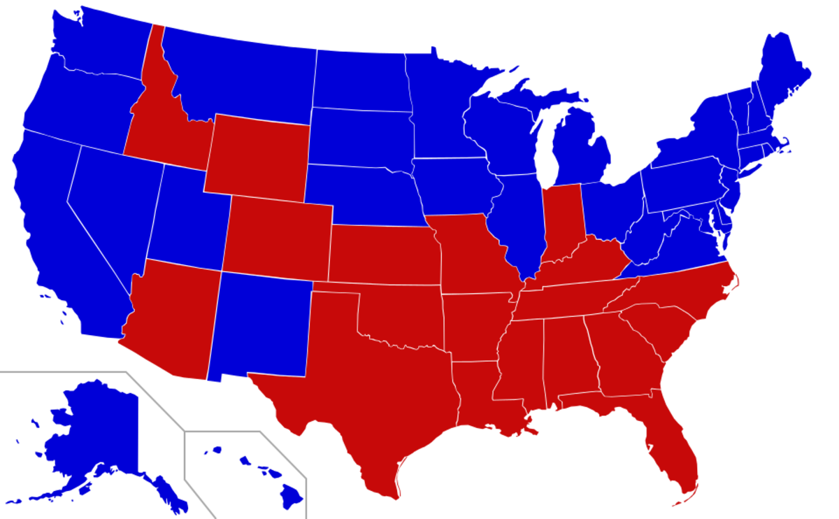 Legality map of the USA: The blue areas show the states where corporal punishment is prohibited.  The practice is most common in the old South and the Mid-West.