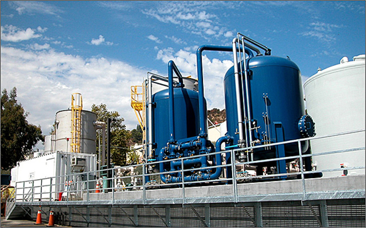 The groundwater treatment facility set up by NASA's Jet Propulsion Laboratory in Altadena CA to clean up groundwater pollution from former toxic aerospace activity.