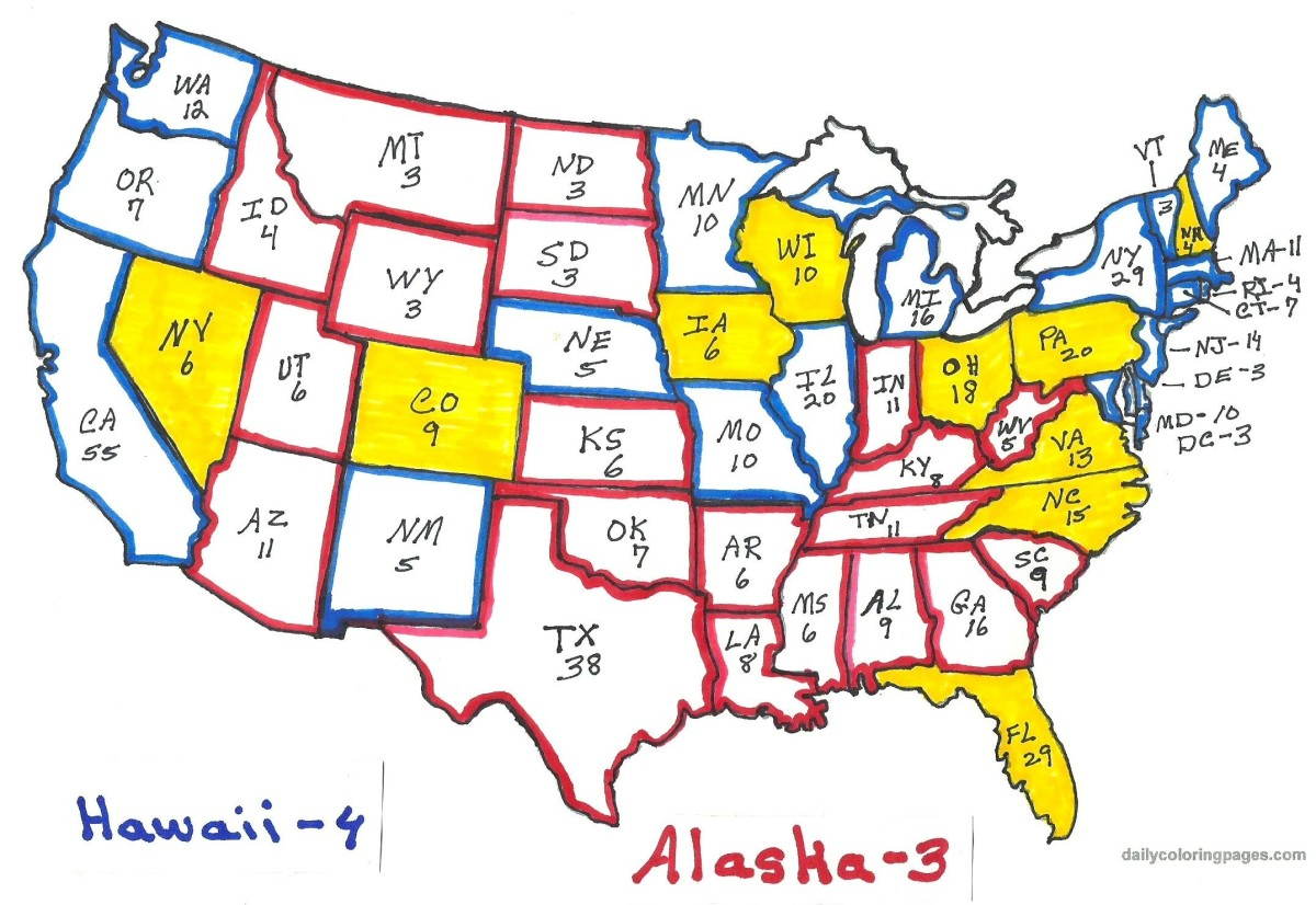 States in yellow are considered swing states again in 2016.  States outlined in red are expected to go Republican - states outlined in blue are expected to go Democratic, in the November 2016 presidential election.  NE should be red.