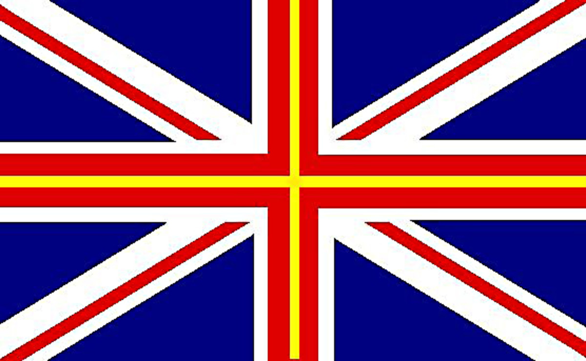In this design the Union Jack remains pretty much as it is today. But remember the Cross of St David? To represent Wales, a narrow yellow Cross of St David is included