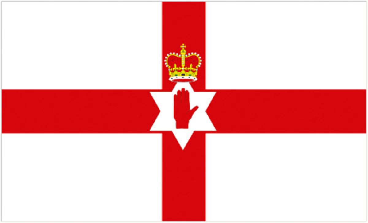The Flag of Northern Ireland 1953 to 1973. The 'Ulster Banner' - was flown from official buildings during the time of home rule before terrorism forced the United Kingdom to impose direct rule from London
