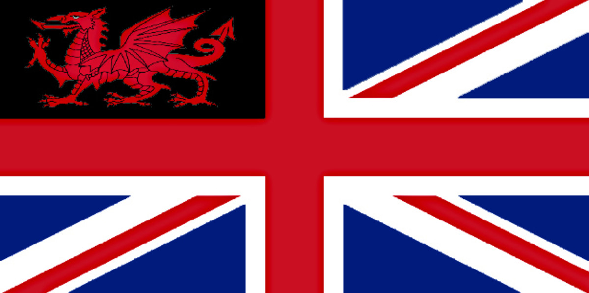 In this design I have modified another idea in which I have included a Red Dragon with the black background of St David's Cross so that it  fills one corner of the Union Jack