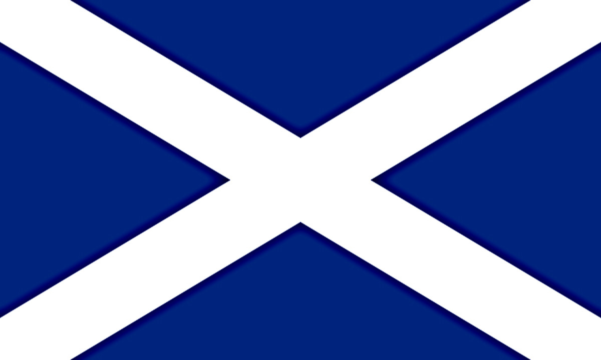 A darker blue version of St Andrew's Saltire. The explanation for two different tones of the Scottish Flag is given below under 'The History of the Flag 1801 to the Present Day)