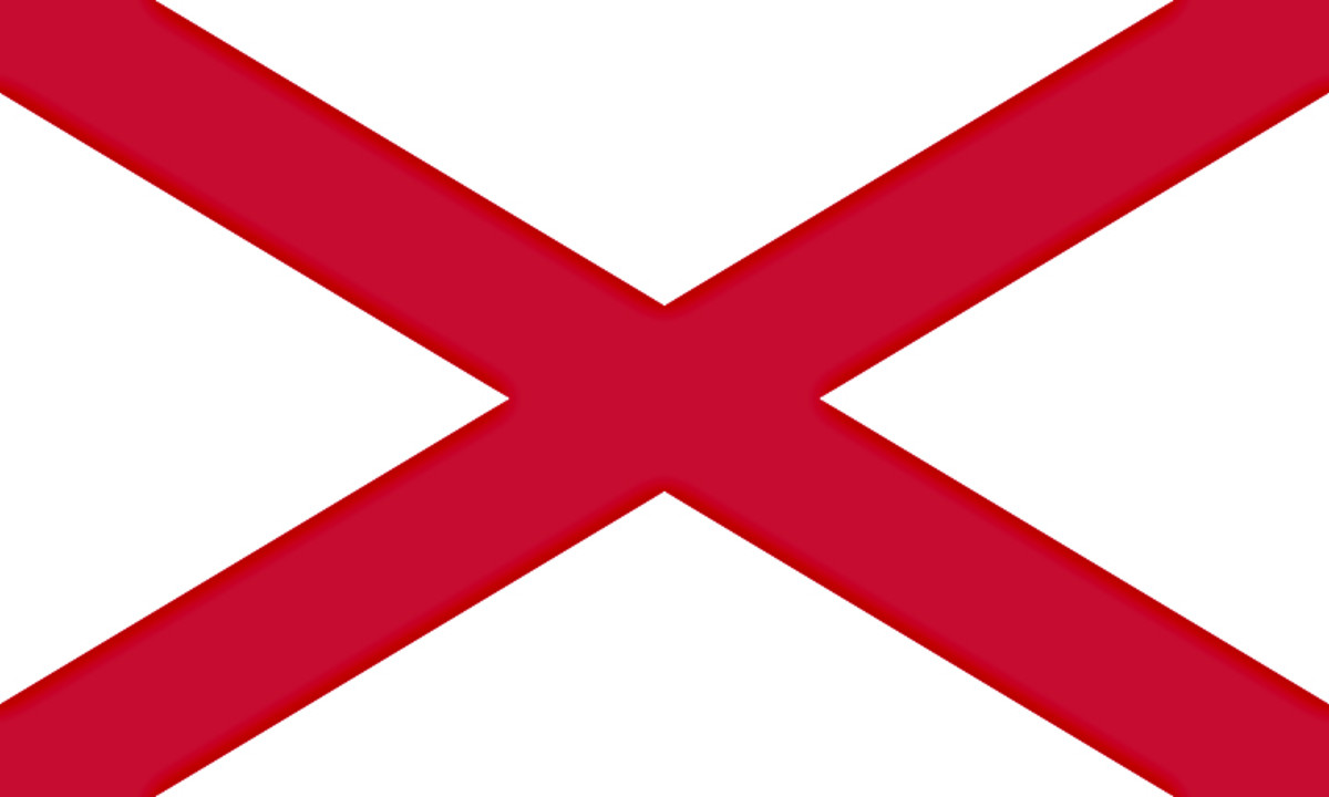 The unofficial Flag of Northern Ireland - St Patrick's Saltire - used to represent the region within the Union Jack