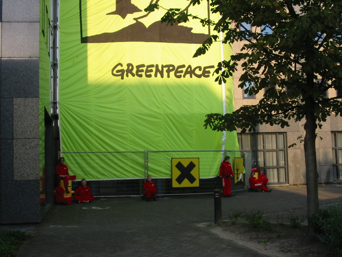 Greenpeace being cheeky (again). Greenpeace remains a very active and powerful transnational cause group.