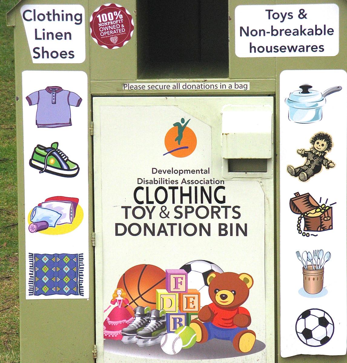 A charity donation bin near my home