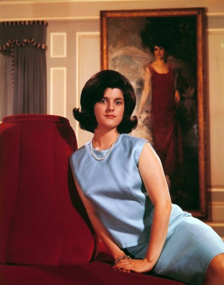 Luci Johnson During the White House Years.  Portrait in background is First Lady Grace Coolidge.