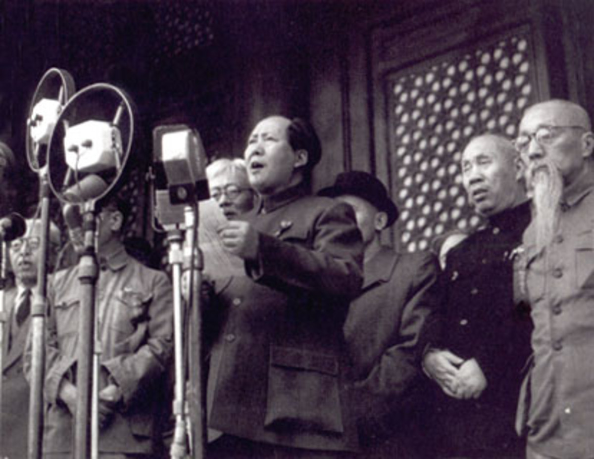Mao Zedong proclaiming the establishment of the Peoples Republic of China in 1949.