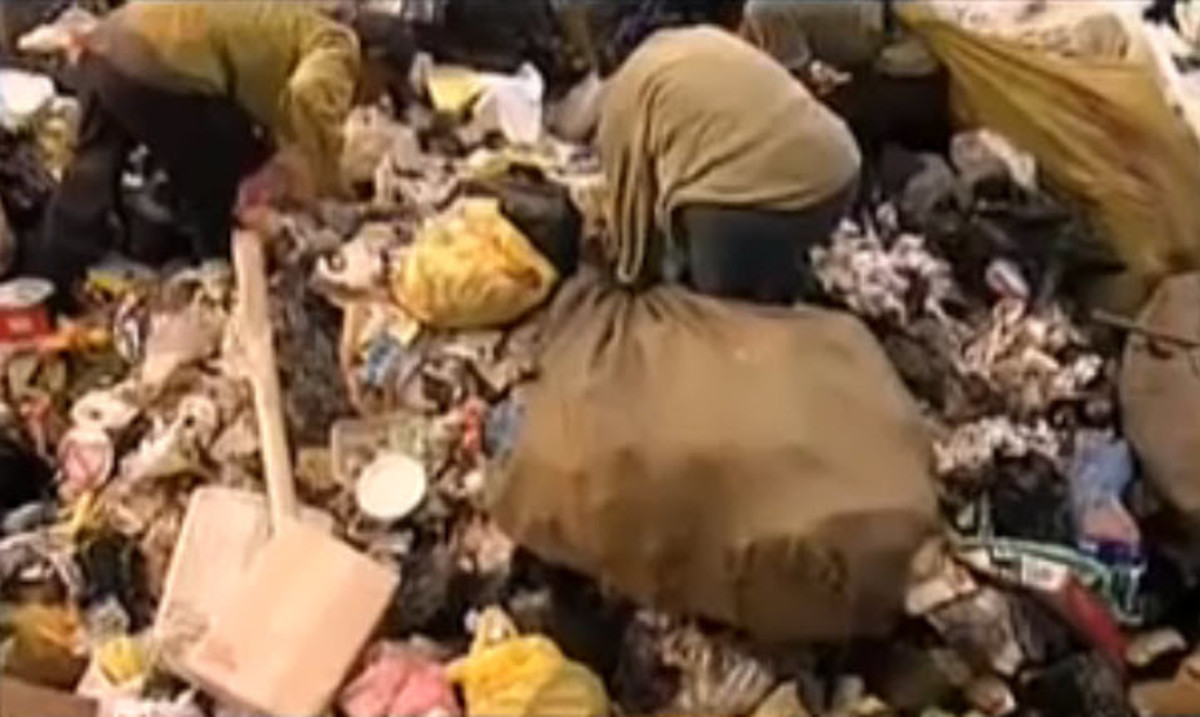 Impoverished millions eke out a living by scavenging for scraps amidst the mountains of garbage generated by polluted, overpopulated cities.