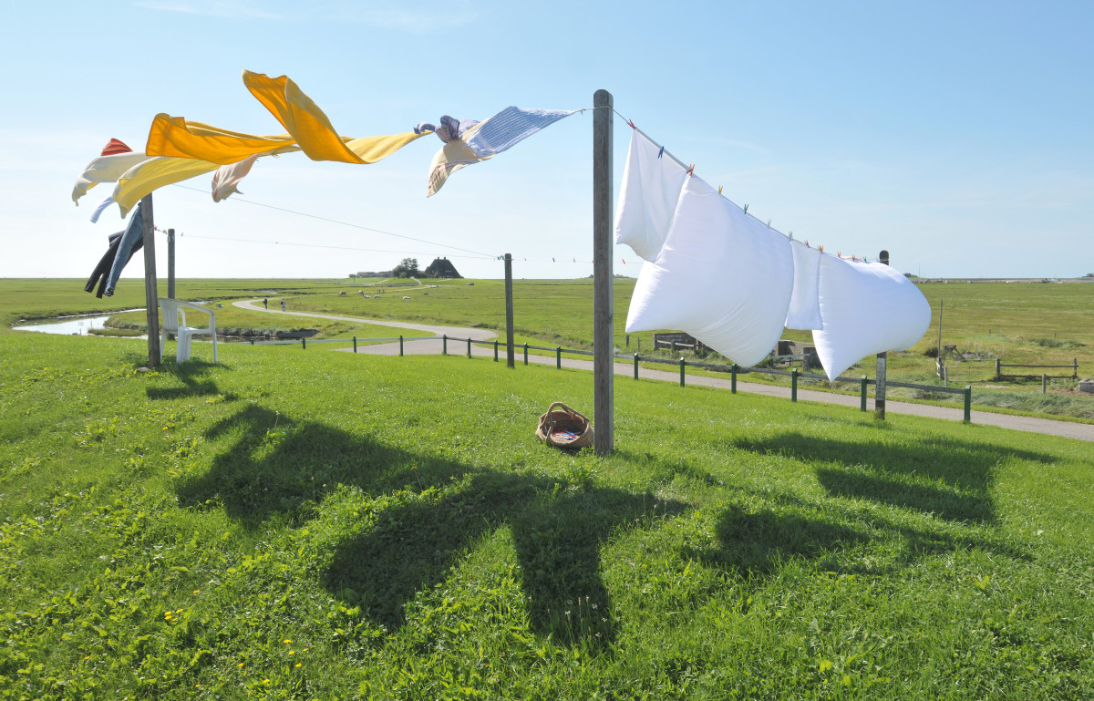 A clothesline can simply be lines and posts as well.
