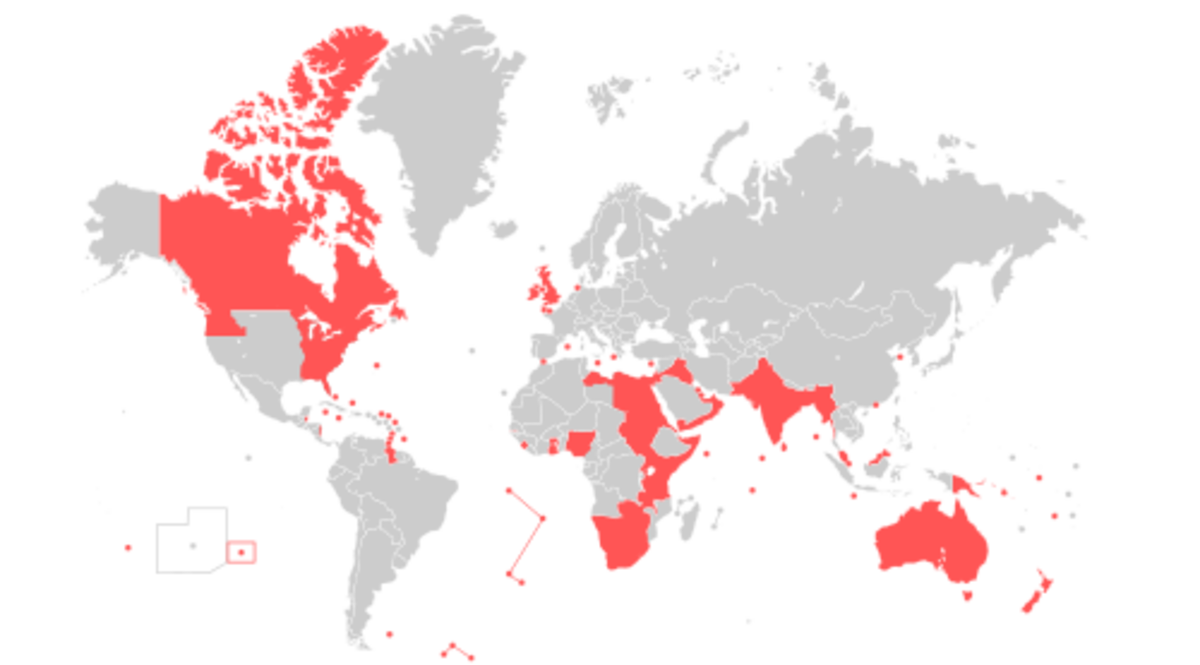 Territories in the British Empire