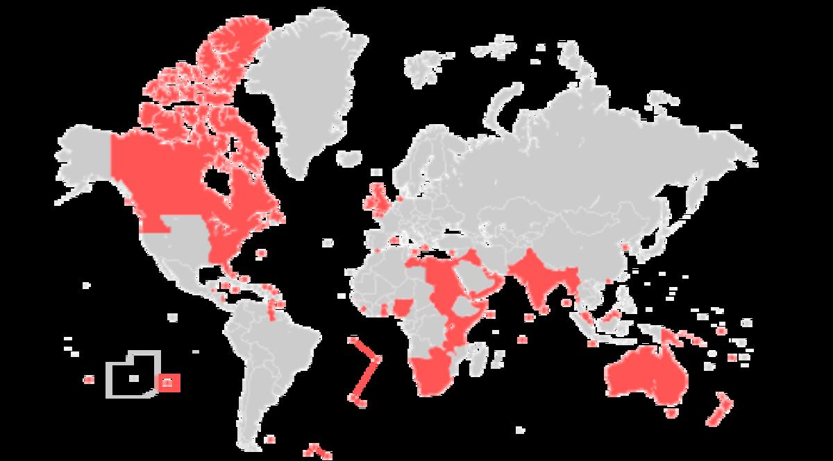Territories in the British Empire
