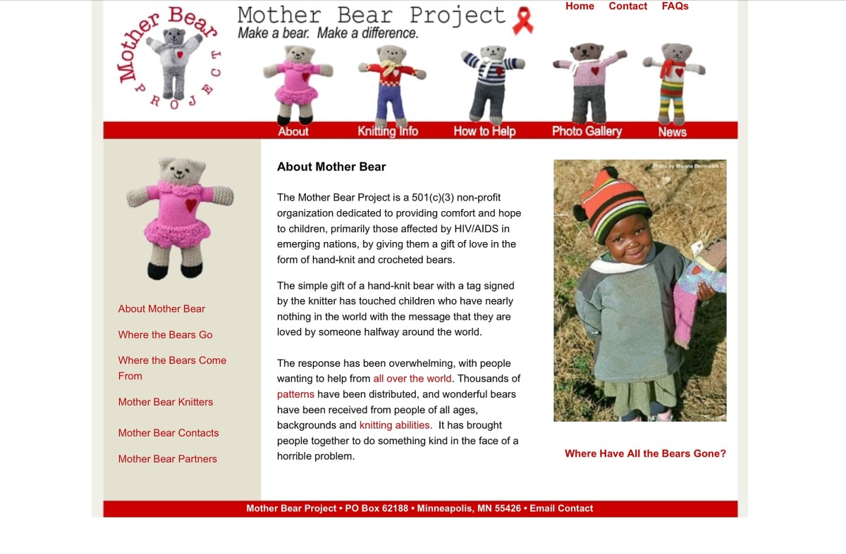 Screenshot of the Mother Bear Project website