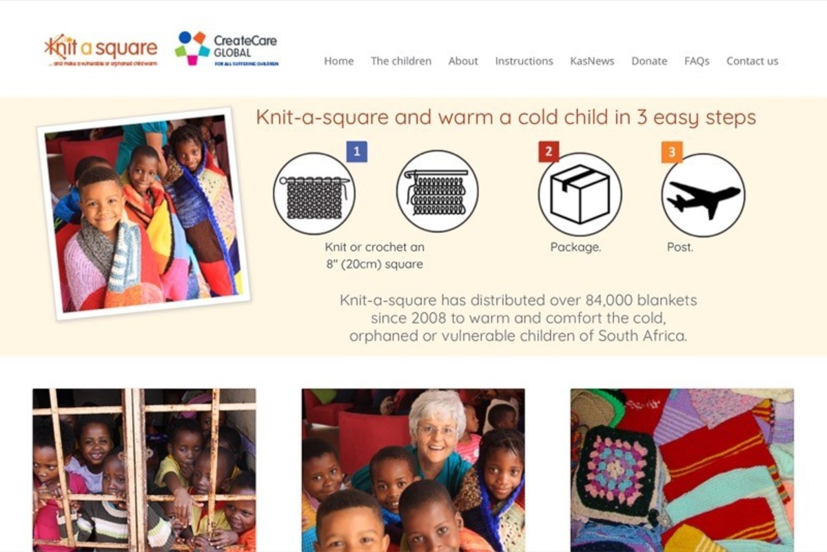Screenshot of the Knit a Square website