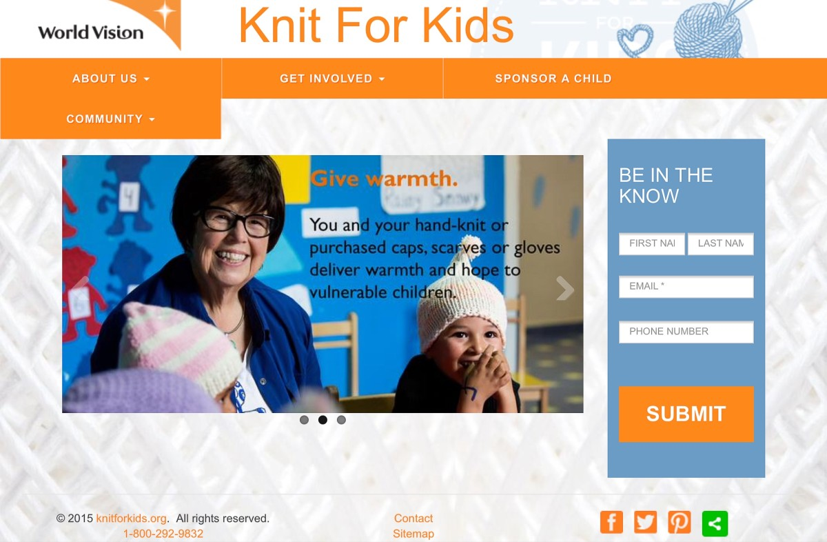 Screenshot of the Knit For Kids website